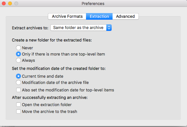 The unarchiver extraction preferences