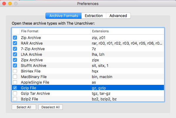 The unarchiver options