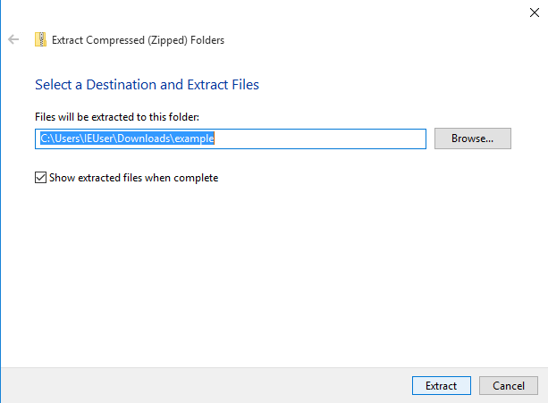 Select alternate directory to extract zip file